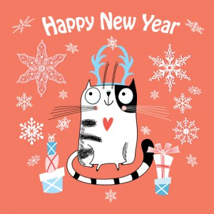 New Year card with a happy cat